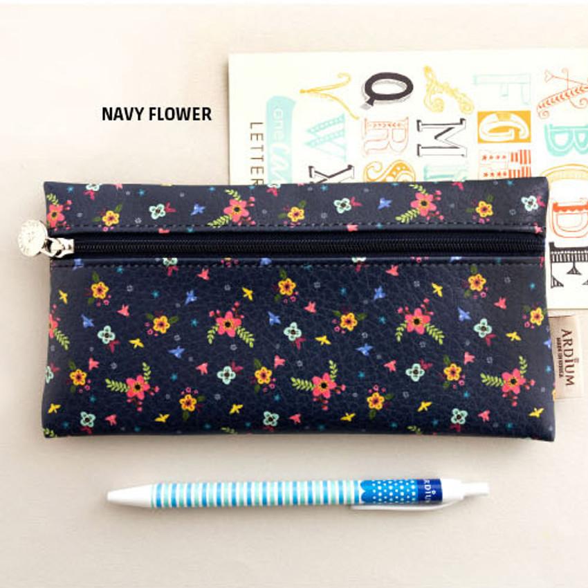 Navy flower - Pattern simple zipper pencil case