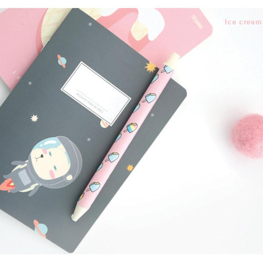 Ice cream - Hellogeeks cute pattern black ballpoint pen