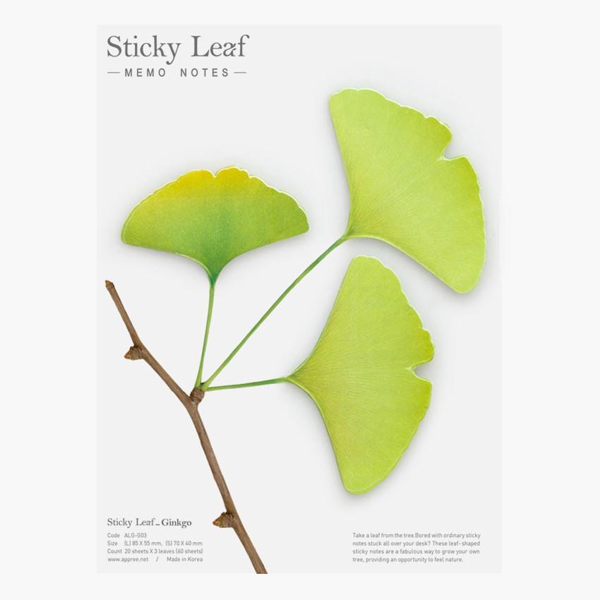 Ginkgo leaf green sticky memo notes Large