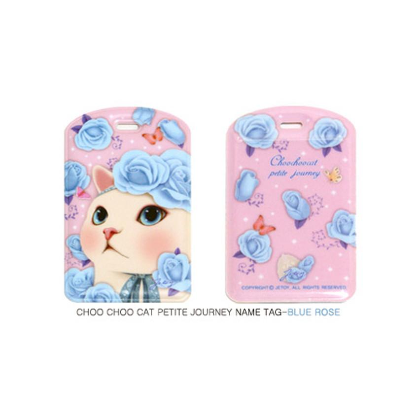 Blue rose - Choo choo cat petite luggage name tag