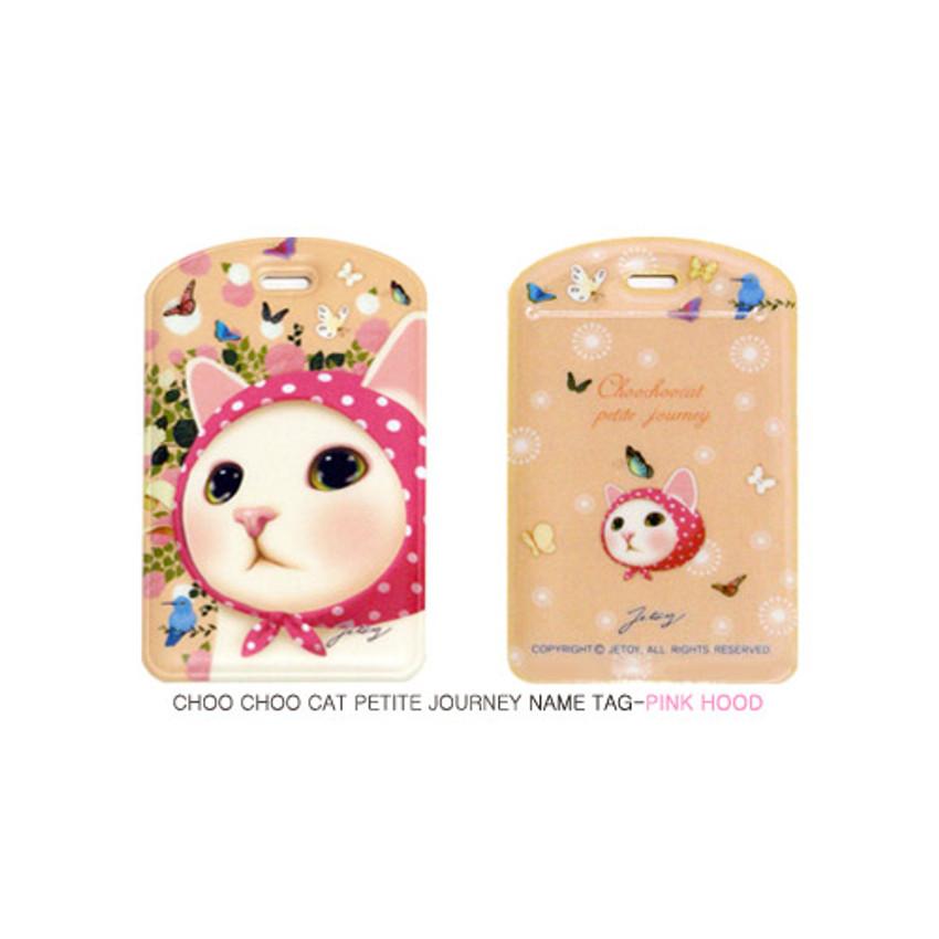 Pink hood - Choo choo cat petite luggage name tag