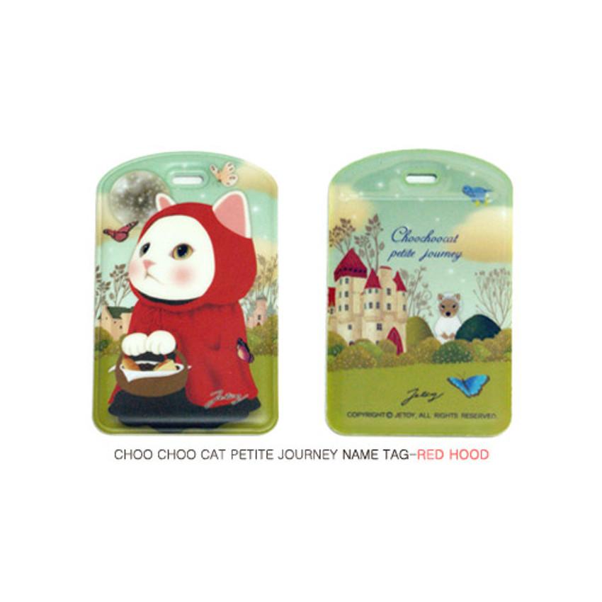 Red hood - Choo choo cat petite luggage name tag