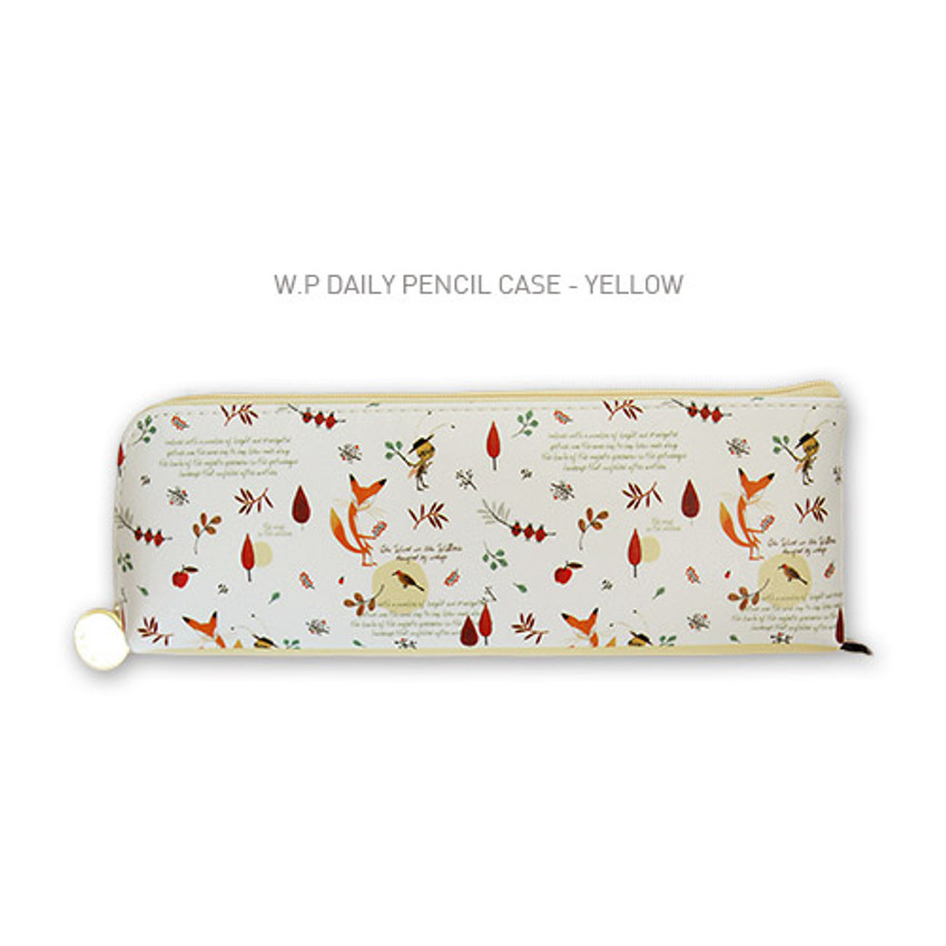 Yellow - Willow story pattern daily zipper pencil case