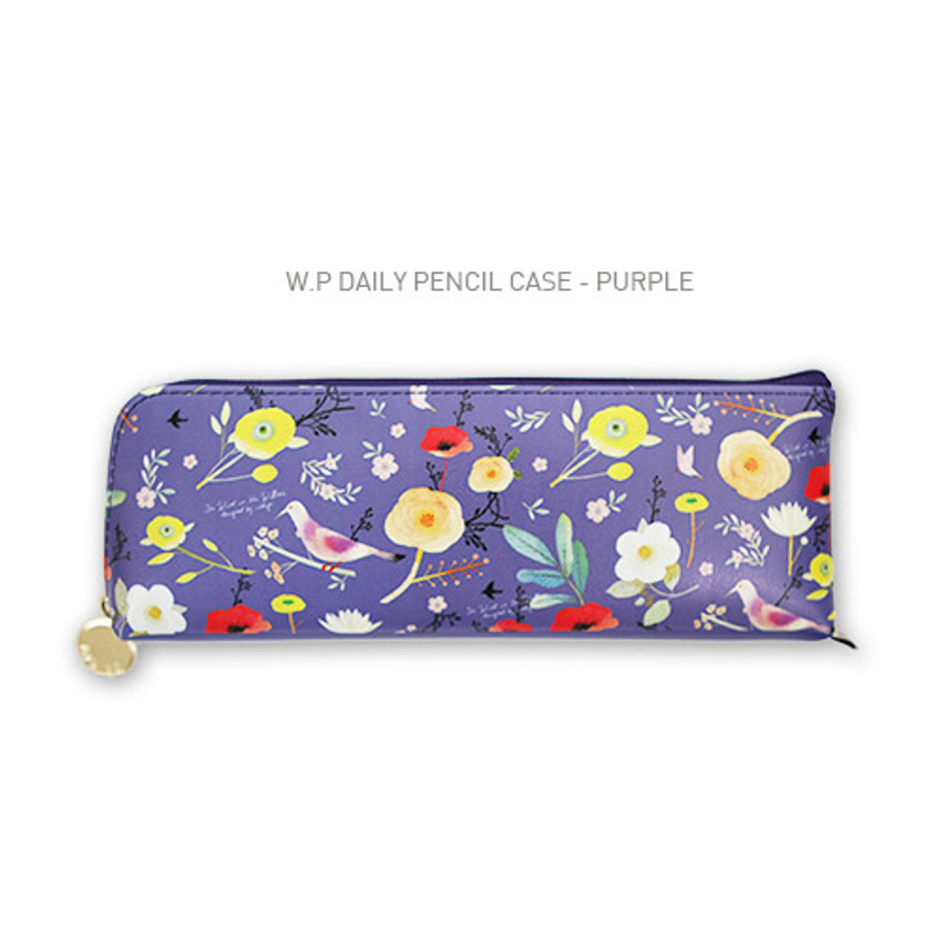 Purple - Willow story pattern daily zipper pencil case