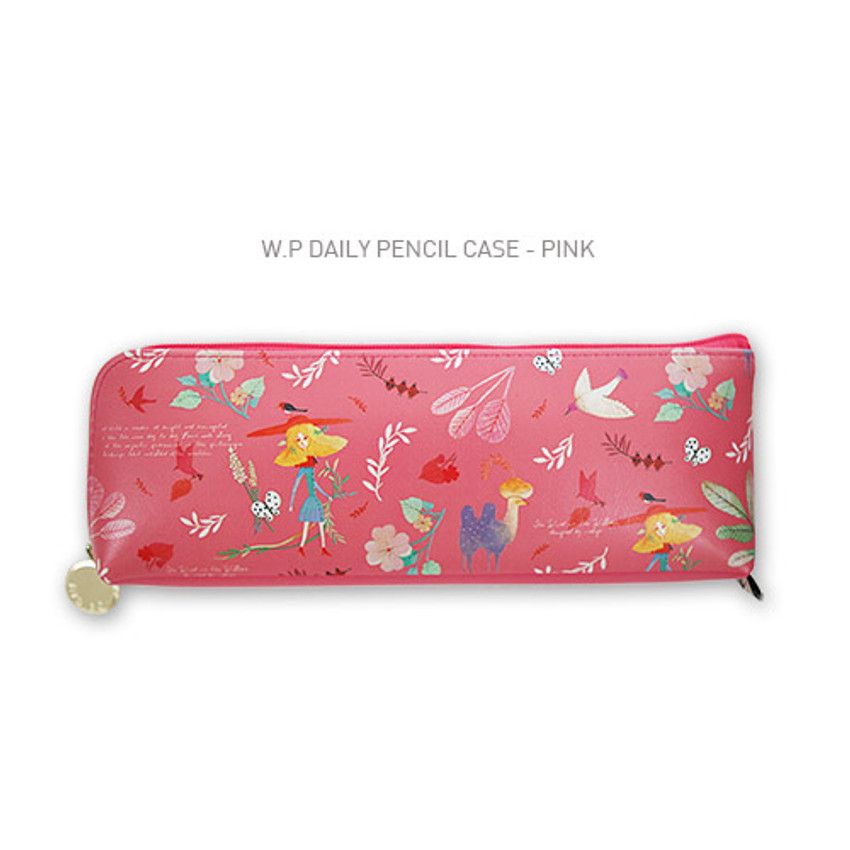 Pink - Willow story pattern daily zipper pencil case