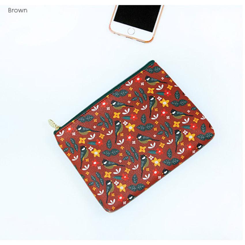 Brown - Le petit pattern zipper pouch