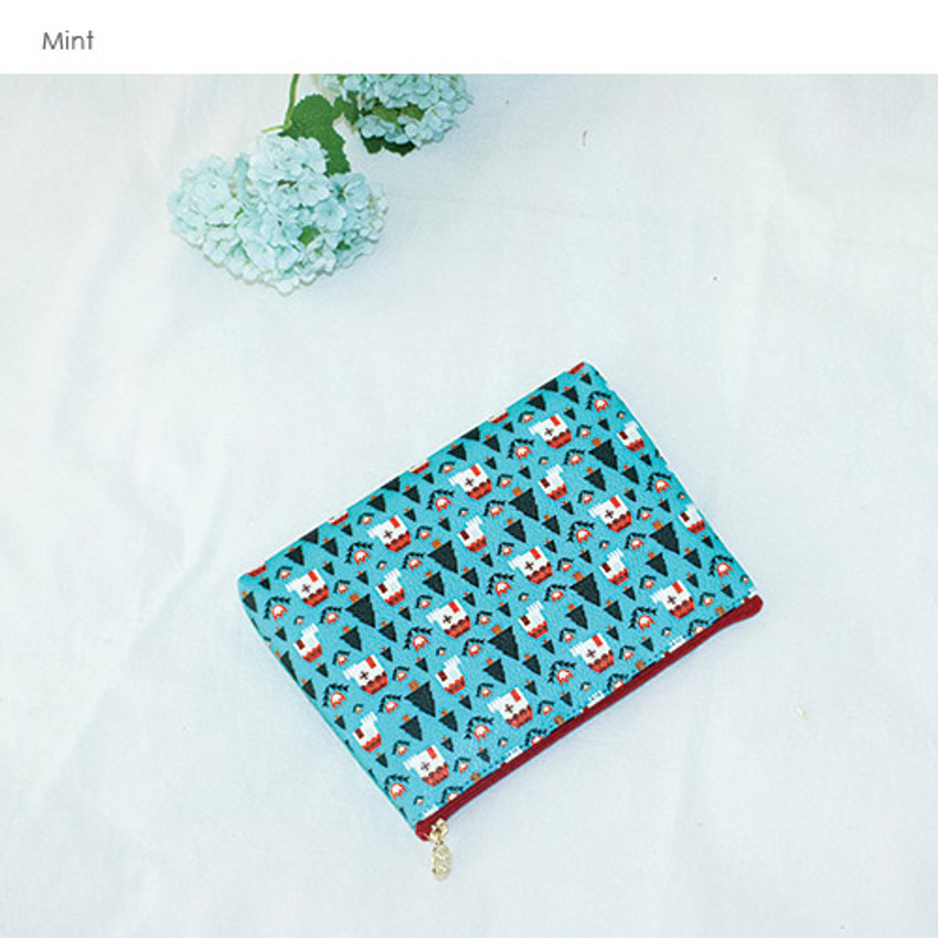 Mint - Le petit pattern zipper pouch