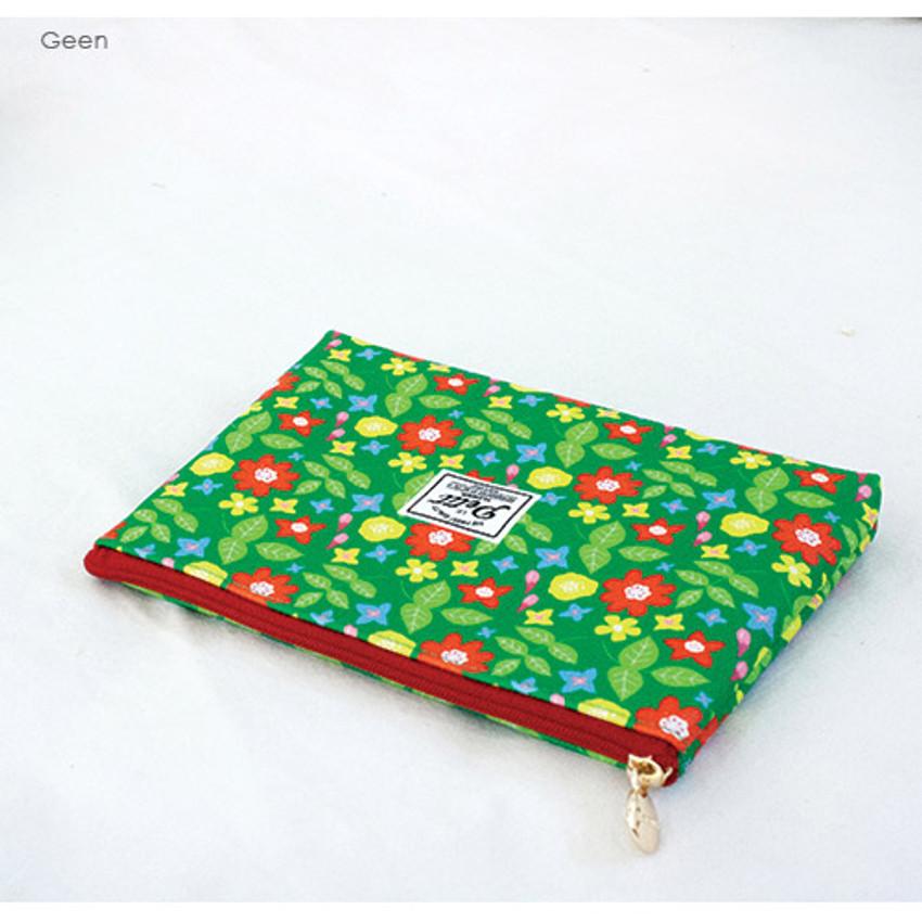 Green - Le petit pattern zipper pouch