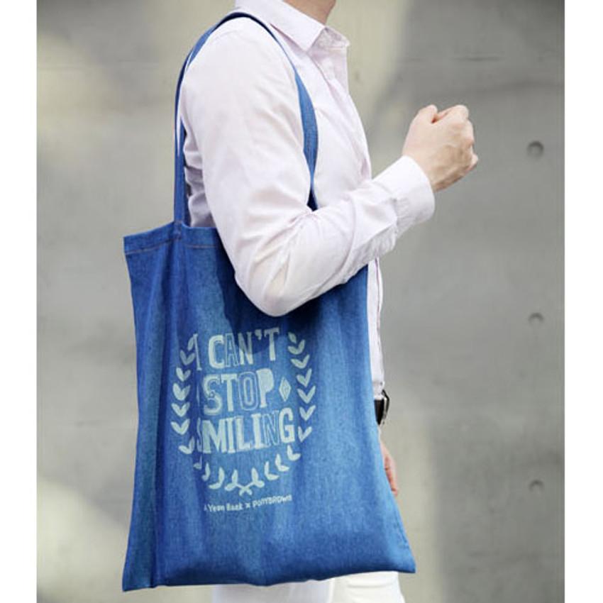 A - Denim canvas tote shoulder bag