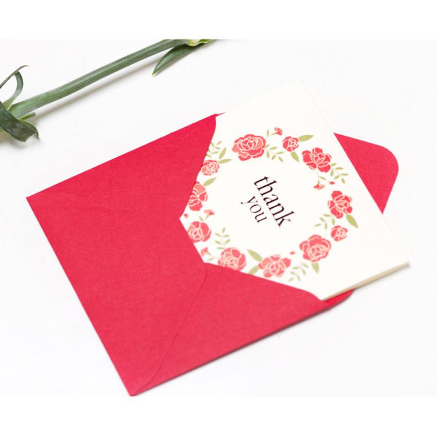 Thank you flower wreath message card