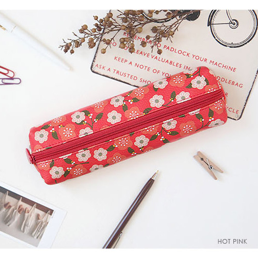 Hot pink - Breezy windy nemo flower pattern pencil case