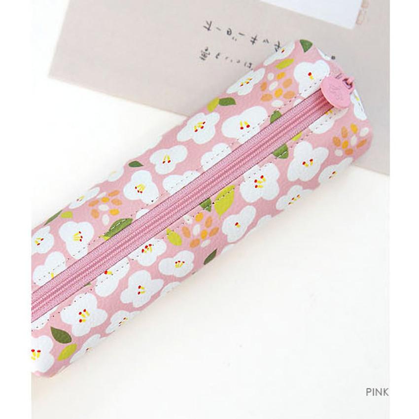 Pink - Breezy windy nemo flower pattern pencil case