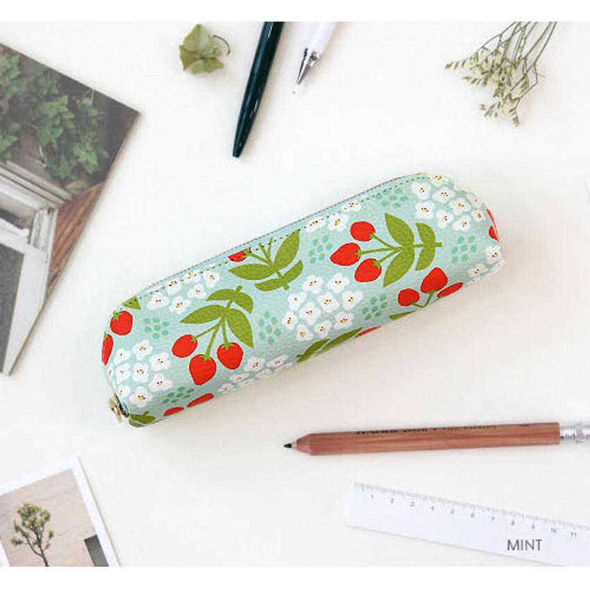Mint - Breezy windy semo flower pattern pencil case