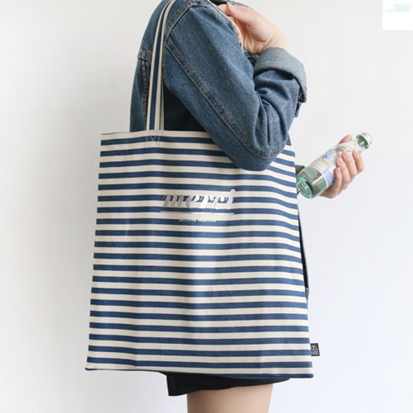 Stripe - Merci fabric eco tote bag