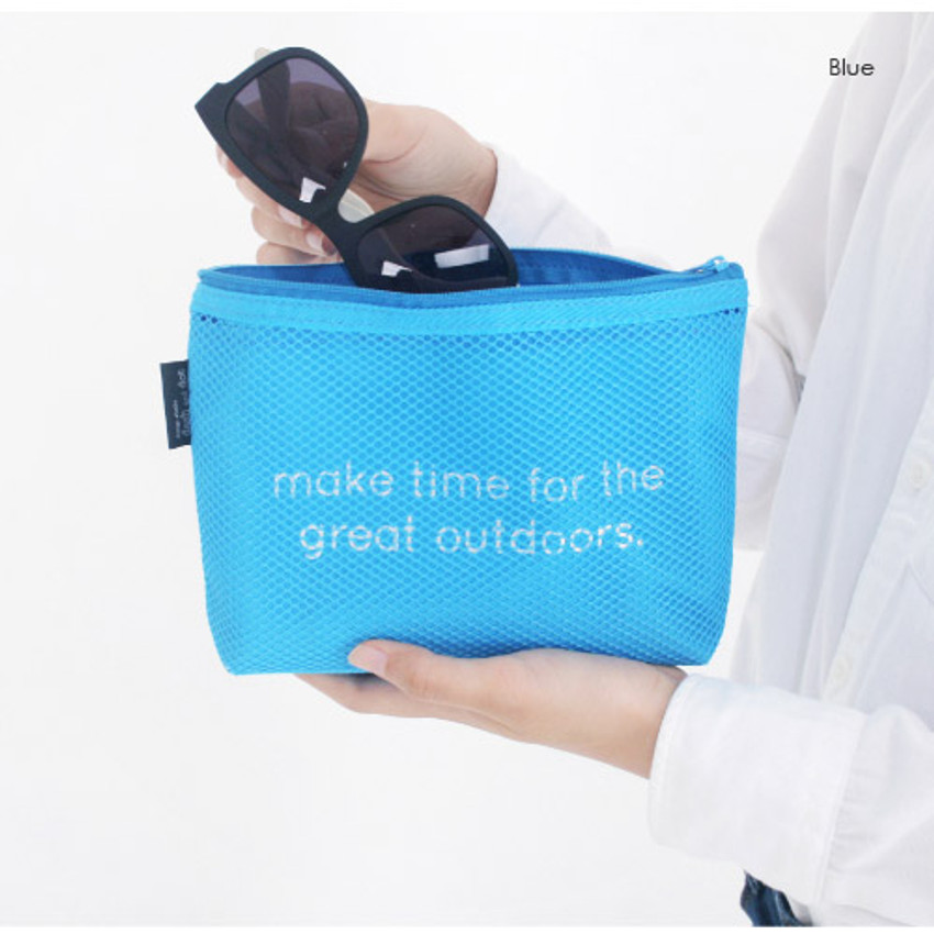Blue - Life is beautiful travel mesh pouch