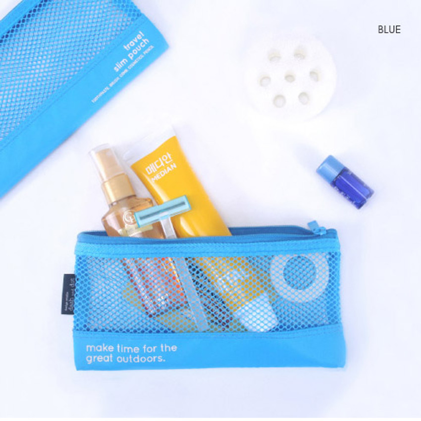 Blue - Life is beautiful travel slim mesh pouch