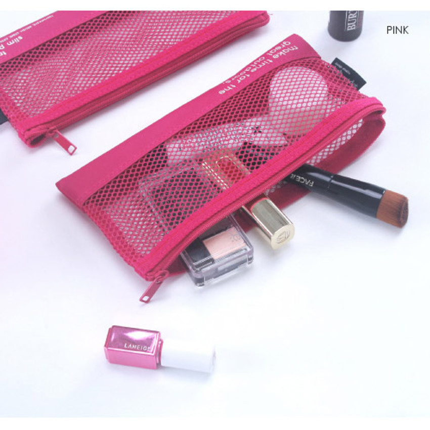 Pink - Life is beautiful travel slim mesh pouch