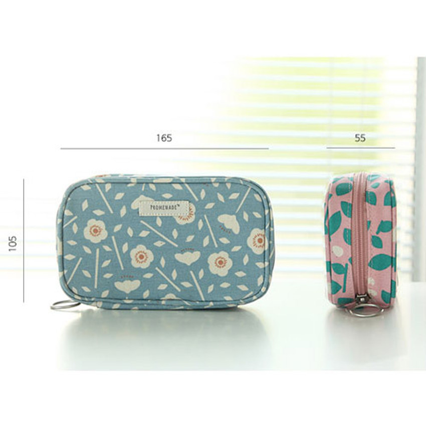 Size of Bonne promenade cotton cosmetic makeup pouch