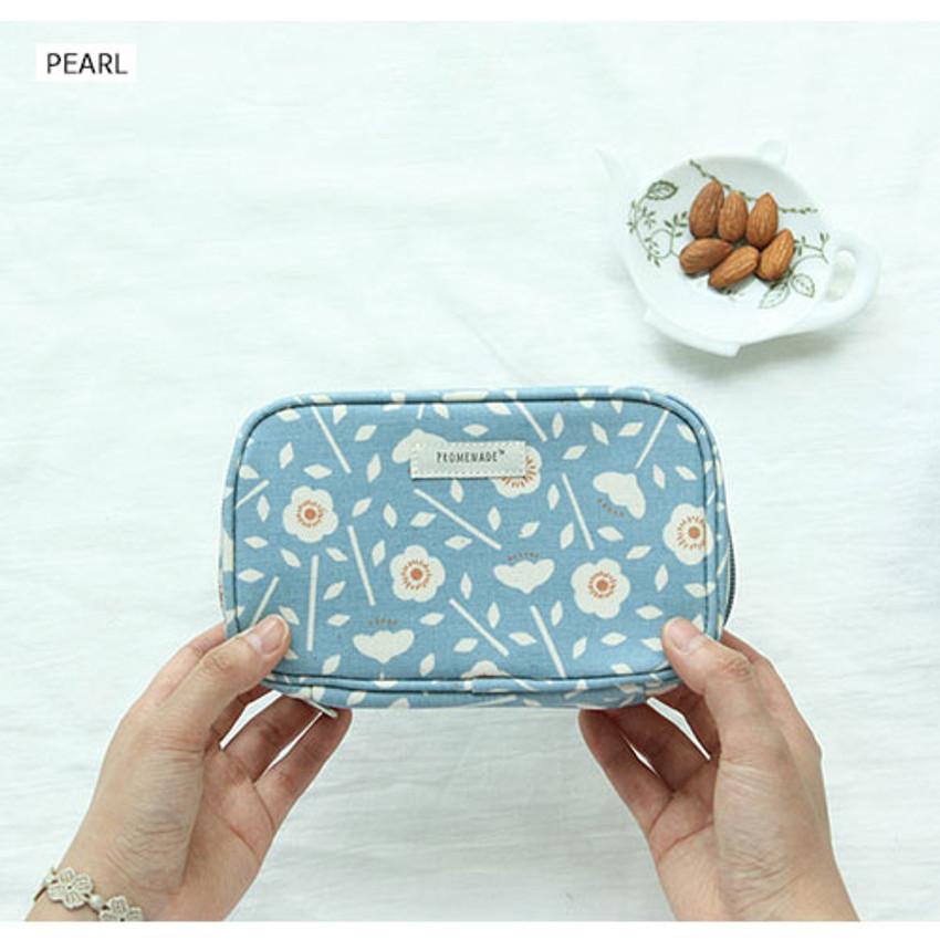 Pearl - Bonne promenade cotton cosmetic makeup pouch