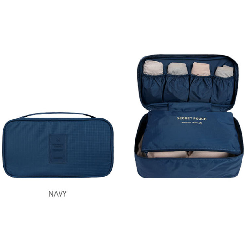 Navy - Travel large pouch bag for underwear and bra
