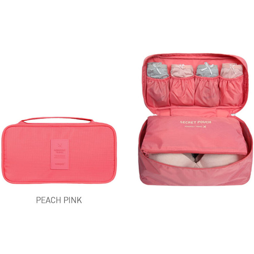 Peach pink - Travel large pouch bag for underwear and bra