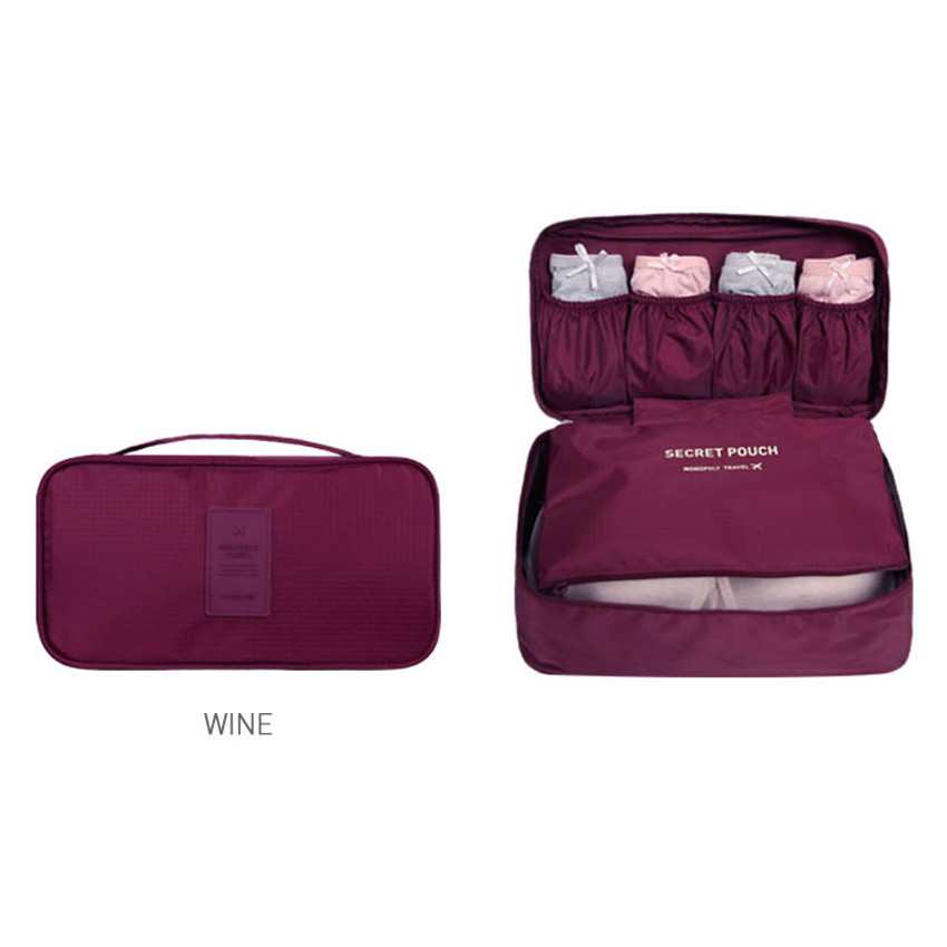 Wine - Travel large pouch bag for underwear and bra