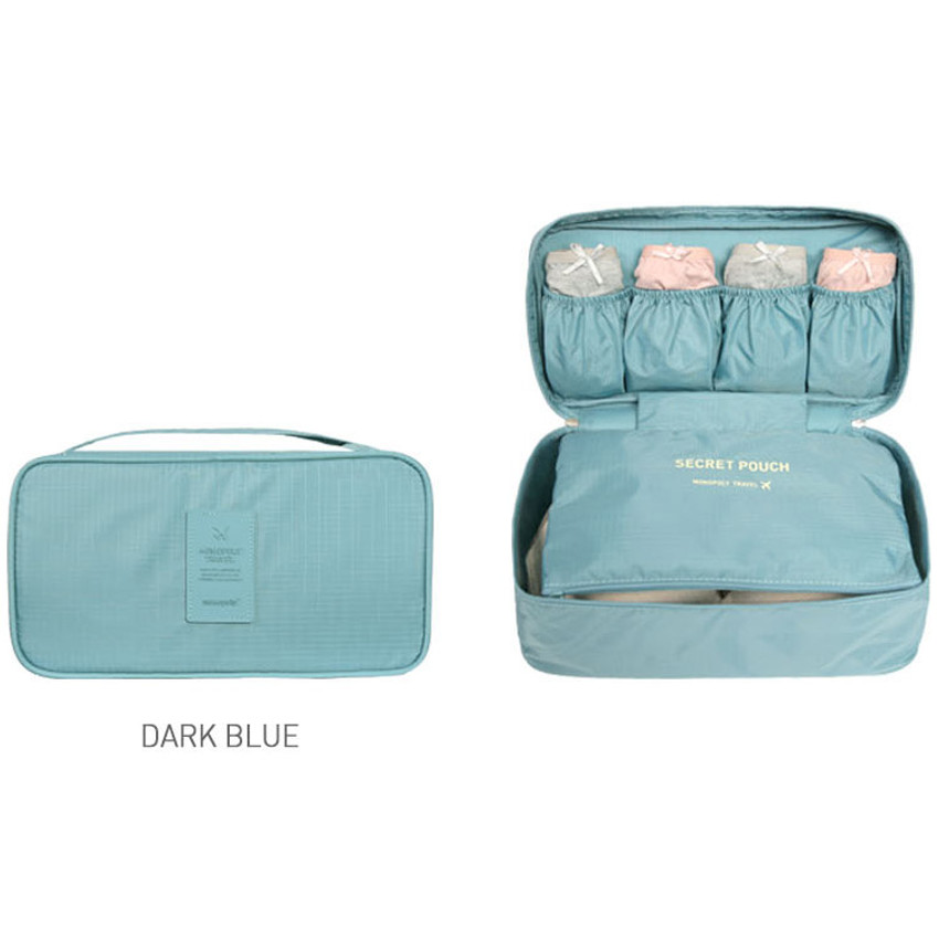 Dark blue - Travel large pouch bag for underwear and bra