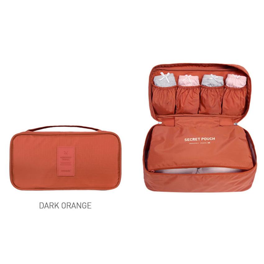 Dark orange - Travel large pouch bag for underwear and bra