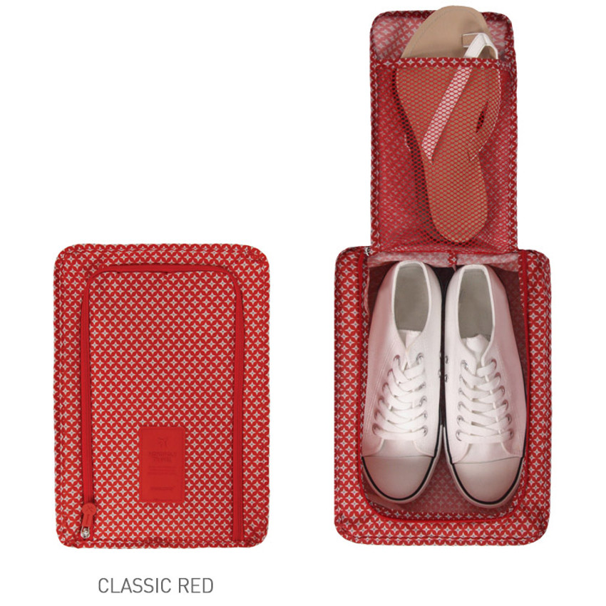 Classic red - Pattern travel zip shoes pouch bag ver.3