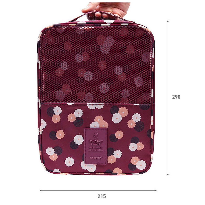 Size of Pattern travel shoes mesh pocket pouch