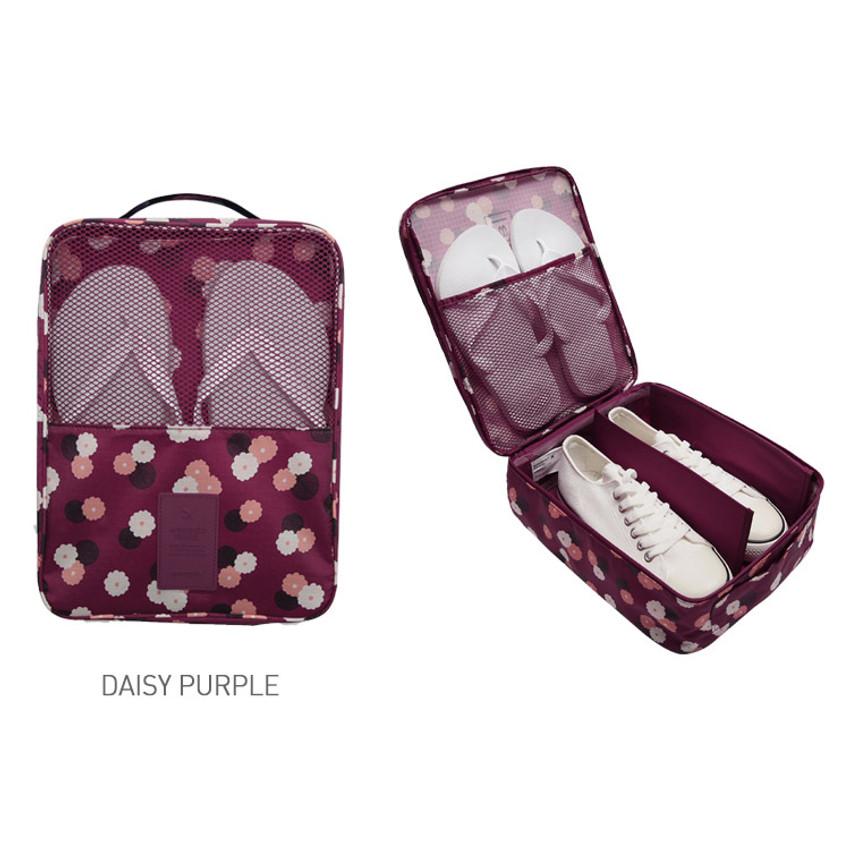 Daisy purple - Pattern travel shoes mesh pocket pouch