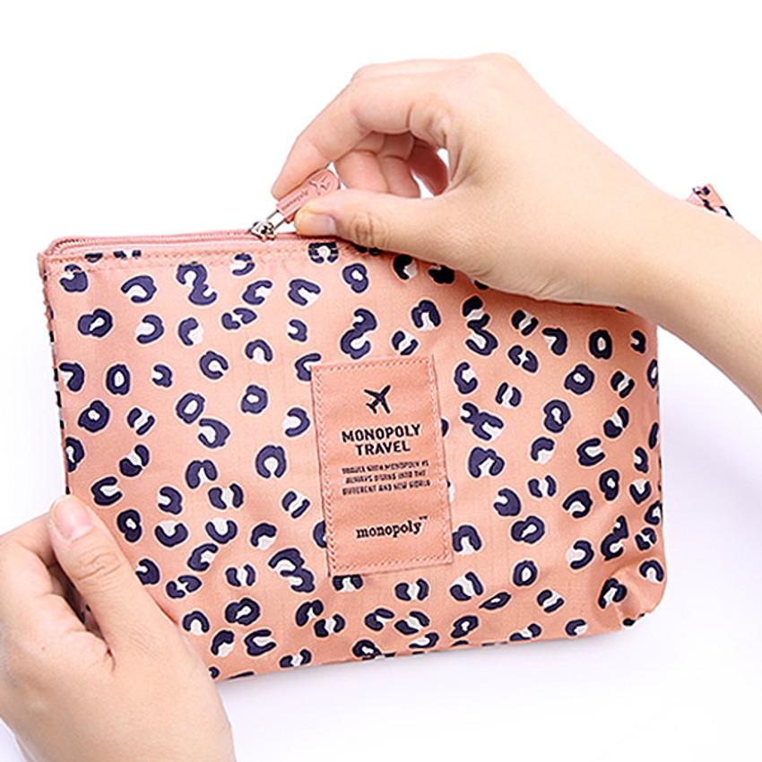 Pattern travel mesh large zipper pouch