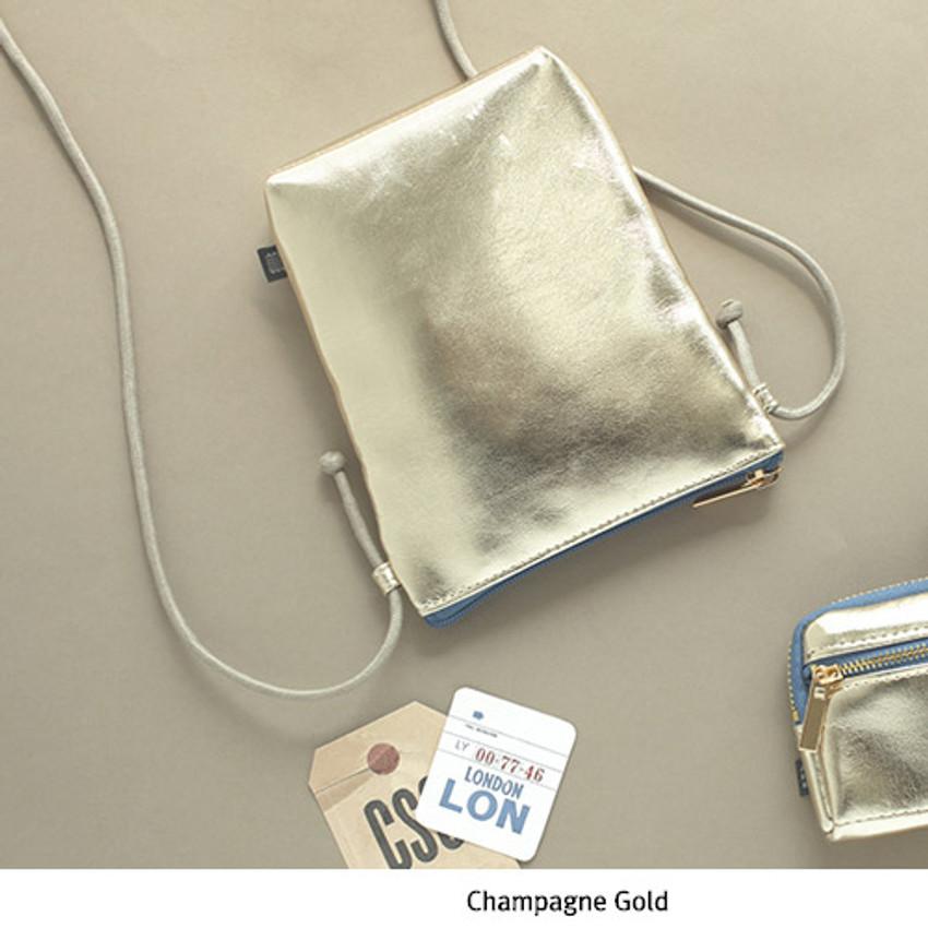 Champagne gold - Aurora glitter square crossbody bag