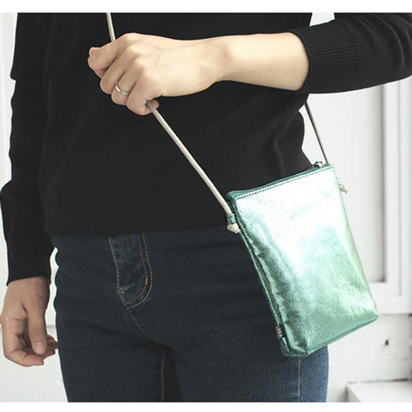 Mint - Aurora glitter square crossbody bag