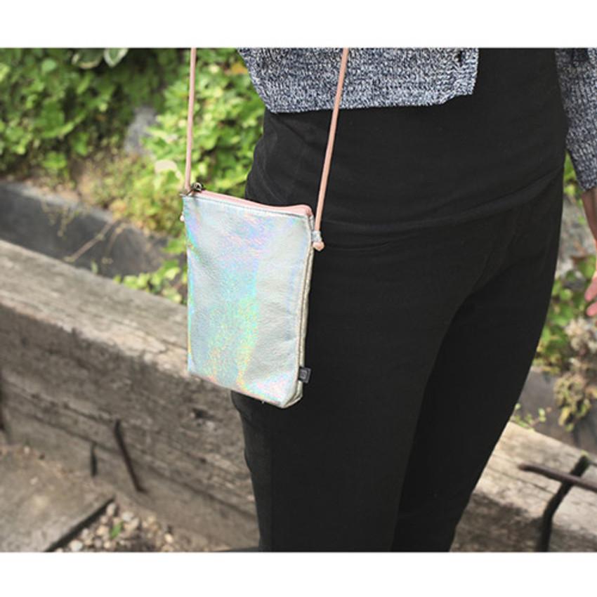 Silver - Aurora glitter square crossbody bag