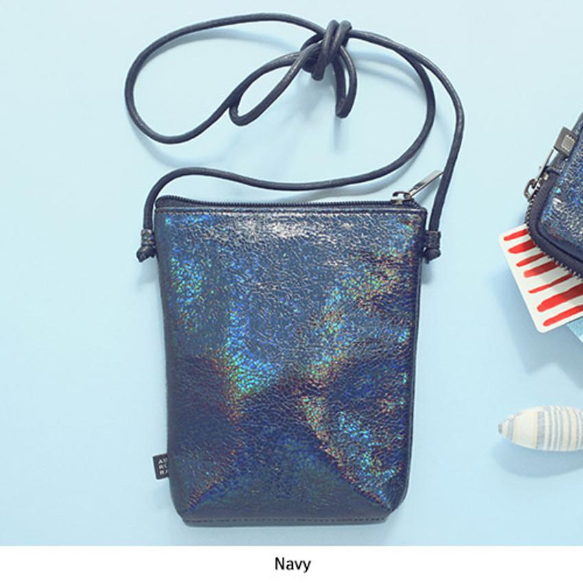 Navy - Aurora glitter square crossbody bag