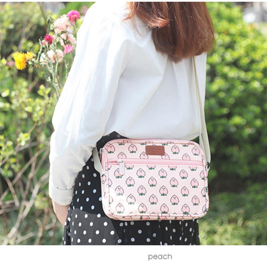 Peach - Livework Jam Jam pattern side messenger bag
