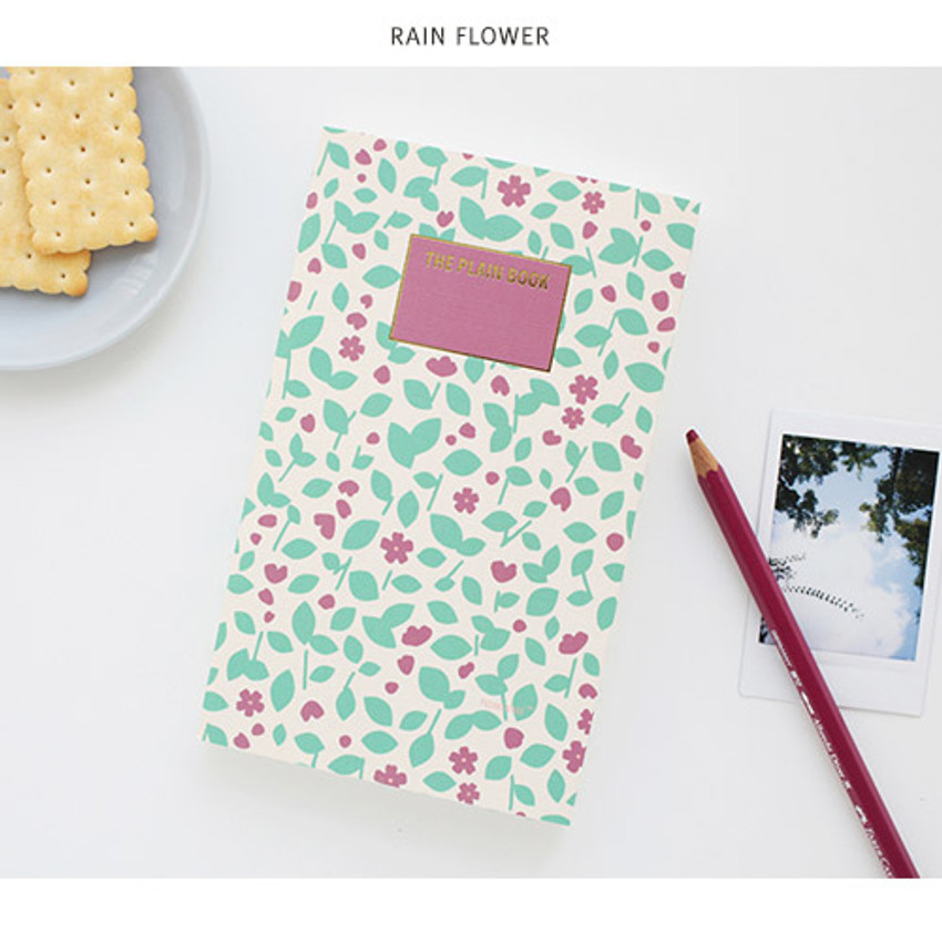 Rain flower - Promenade flower pattern plain notebook