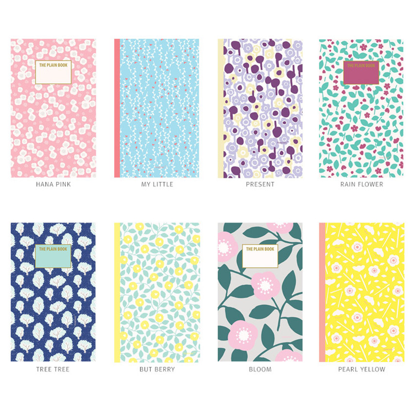 Promenade flower pattern plain notebook