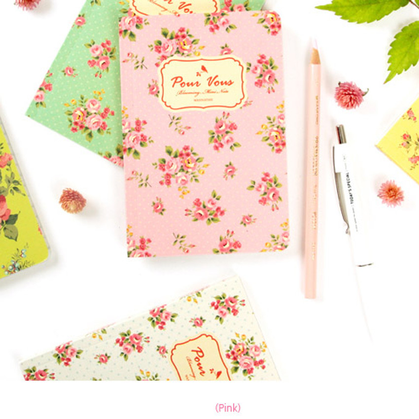 Pink - Blooming flower pattern lined notebook small