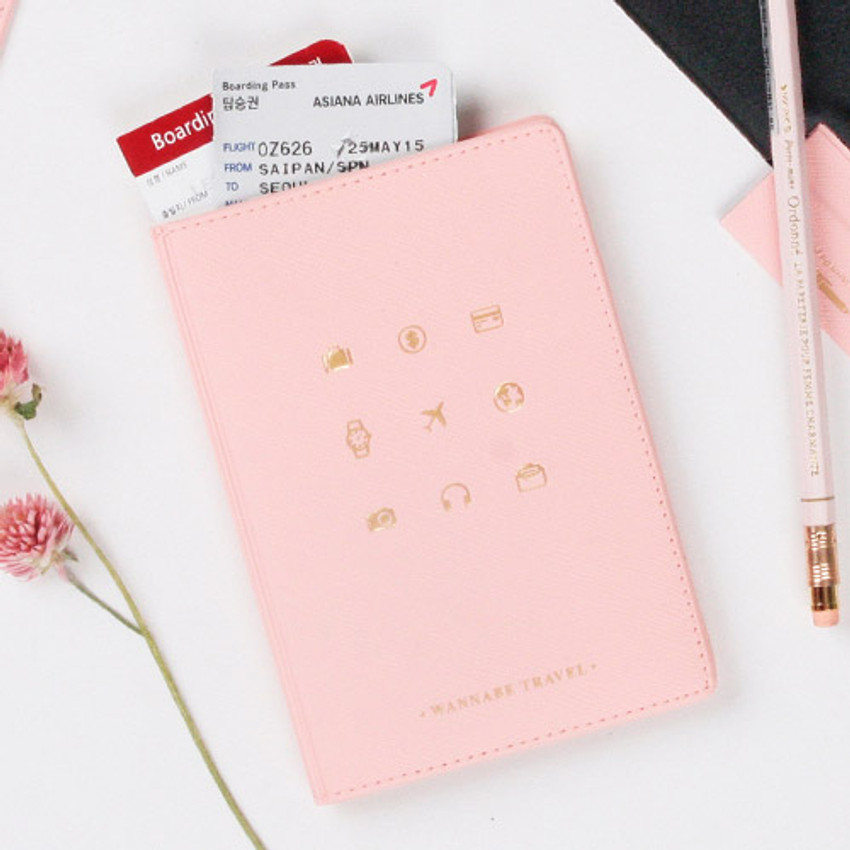 Baby pink - Wannabe pictogram travel RFID blocking passport case