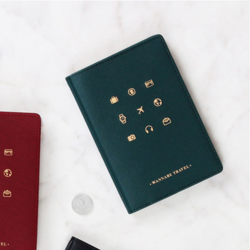 Deep green - Wannabe pictogram travel RFID blocking passport case