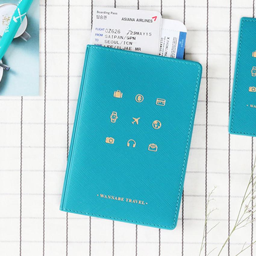 Turkey blue - Wannabe pictogram travel RFID blocking passport case