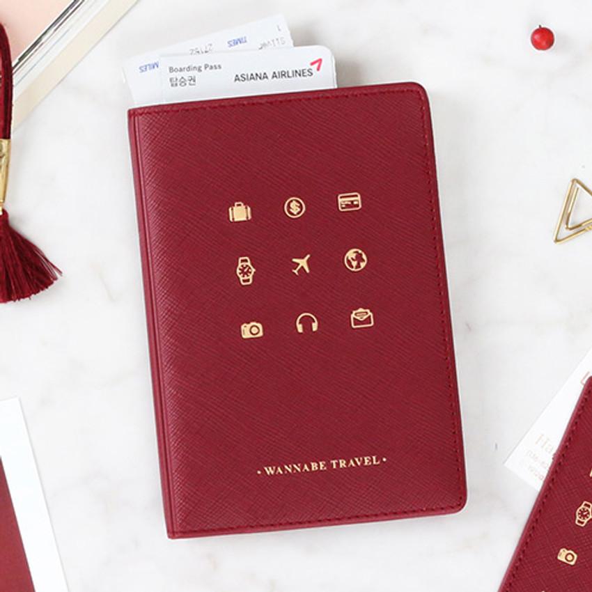 Burgundy - Wannabe pictogram travel RFID blocking passport case