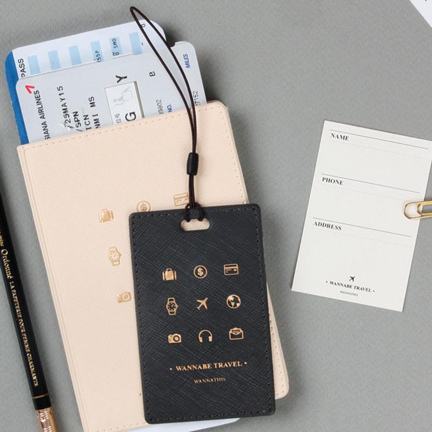 Black - Wannabe pictogram travel luggage name tag