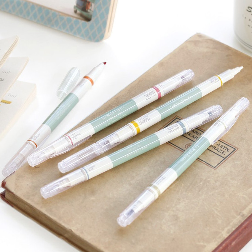 Retro colors double ended highlighter chisel/fine point