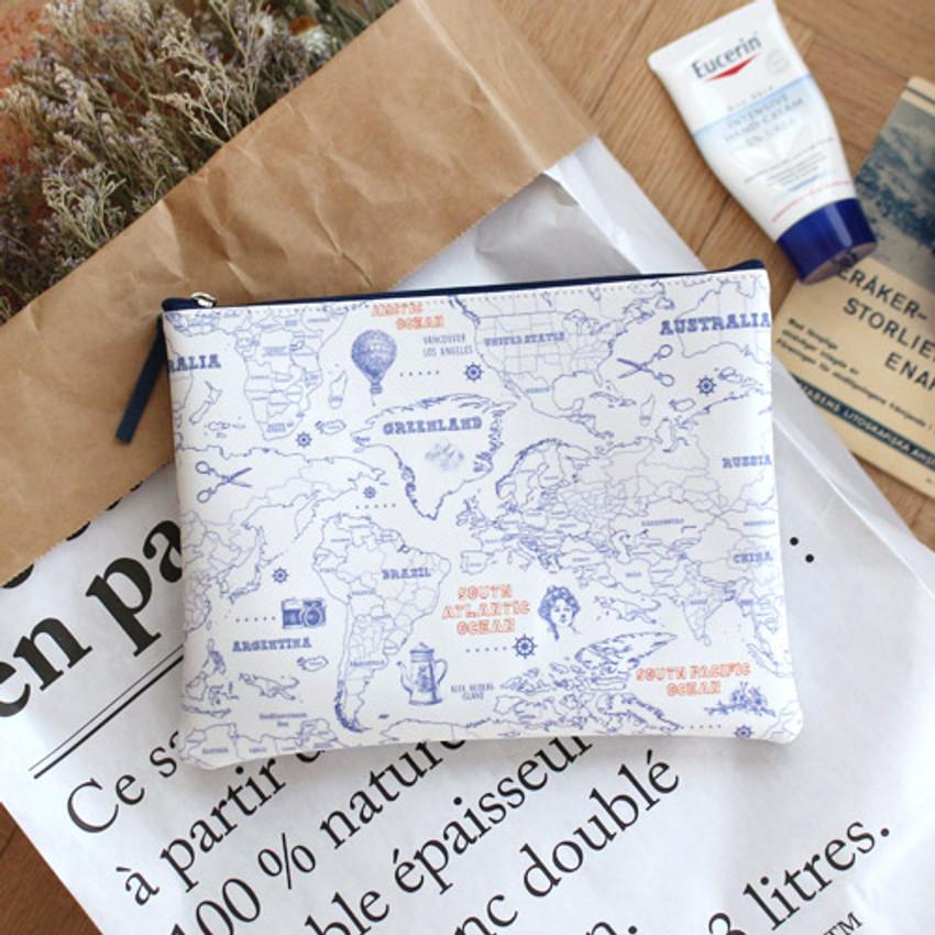 Line - World map pattern zipper pouch