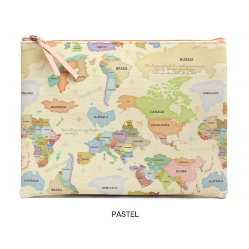 Pastel - World map pattern zipper pouch