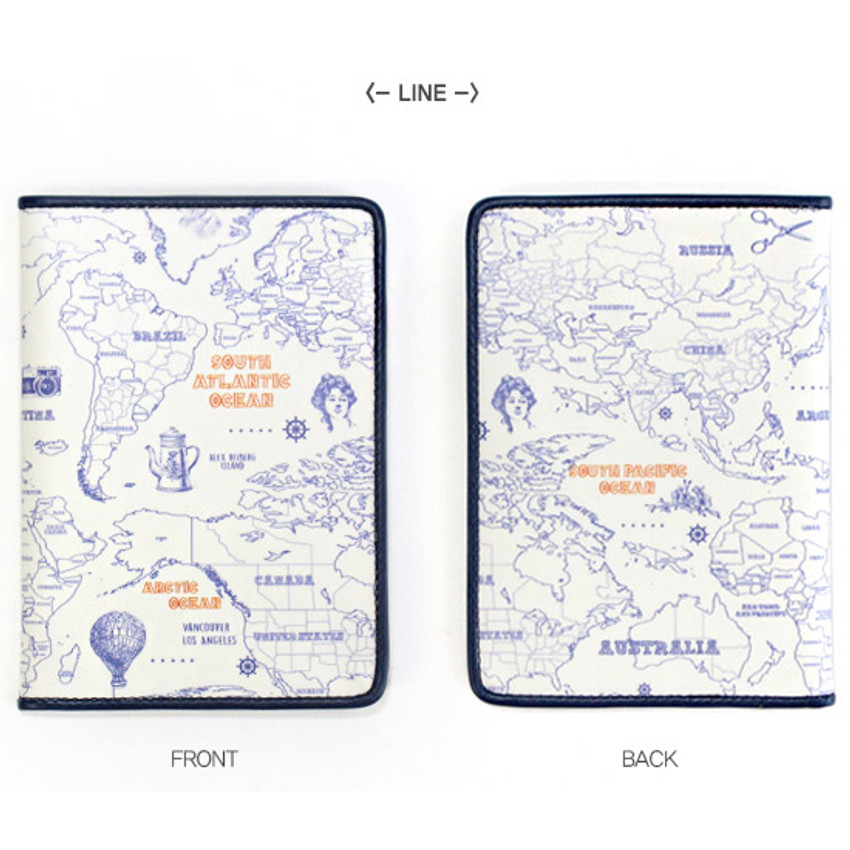 Indigo World map pattern RFID blocking pport case on flag out, ops out, letter out, print out, school's out, drawing out,