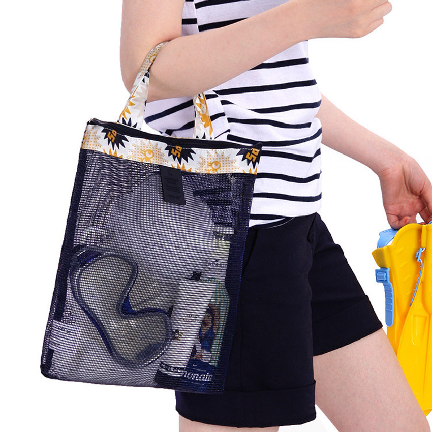 Sparkle mustard - Coated mesh handy tote bag pouch